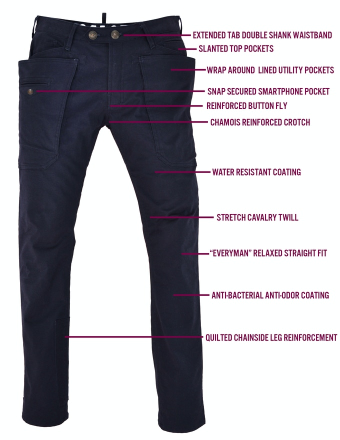 CRANK Utility Trouser Features (front view)