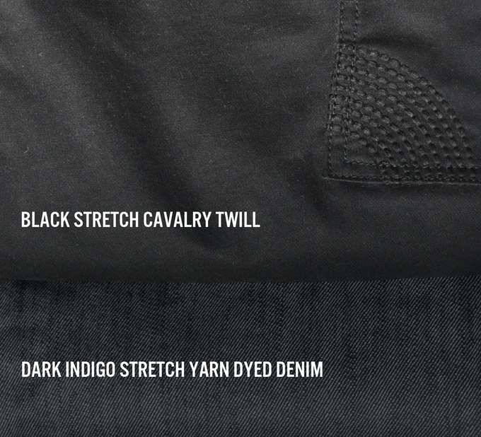 Lane Trouser is available in Black Cavalry Twill and Dark Indigo Denim