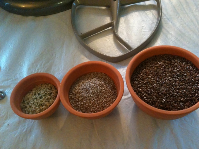 Flax, chia, hemp seeds rich in essential fats.