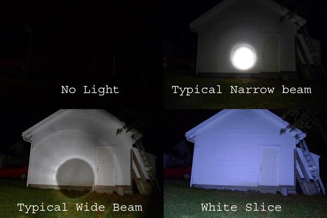 Beam Comparison, 2D-cell Maglite Narrow & Wide Vs. White Slice