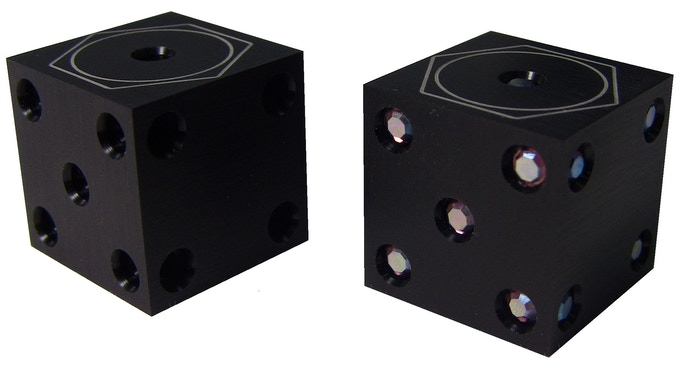Stealth Black Anodized Aluminum with Crystal set in Pip.