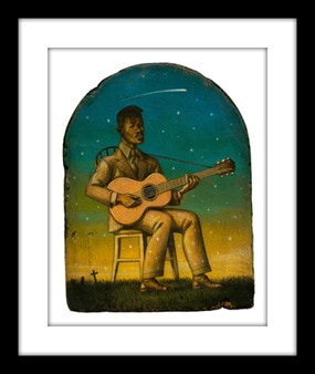 """A limited signed and numbered 10""""x 12"""" art print of Blind Willie Johnson by Marc Burckhardt on 16""""x 18"""" archival watercolor paper with 3"""" deckled border."""