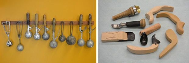 L: Karl's personal antique ice cream scoop collection. R: The first series of Belle-V prototypes.