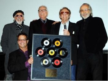 Photo: Beverly Hills screening, honoring Hal Blaine for 7 Grammy wins. Left to right- Denny Tedesco, Lou Adler, Jerry Moss, Hal Blaine, Herb Alpert.