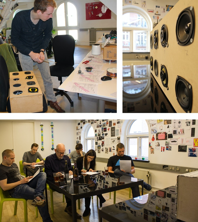 Top left: Bjarke building the driver test rig. Top right: driver blind-test rig. Bottom: Blind test in play to find the best suited driver for the db60 speaker