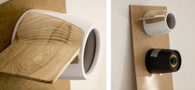 Prototypes: Left, close-up of the first version of the milled wooden wing. Right bottom the third model, used for sound chamber optimization and tests.