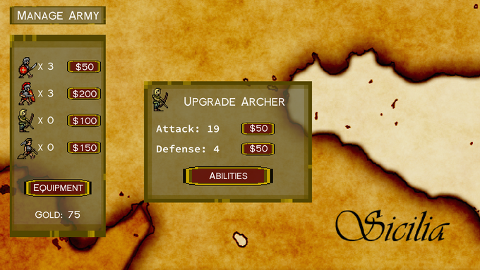 Placeholder art -- pre-alpha army management screen.  Final UI contains many more options/stats.