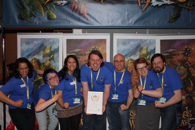This is us, with our friends and family, after winning Best Strategic Card Game at the UK Games Expo 2013 for Lords of War: Orcs versus Dwarves and Lords of War: Elves versus Lizardmen.