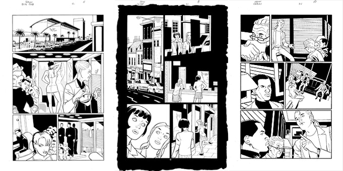 David's available pages, from left to right, are from Bite Club #2, Lucifer #41, and Fables #34.