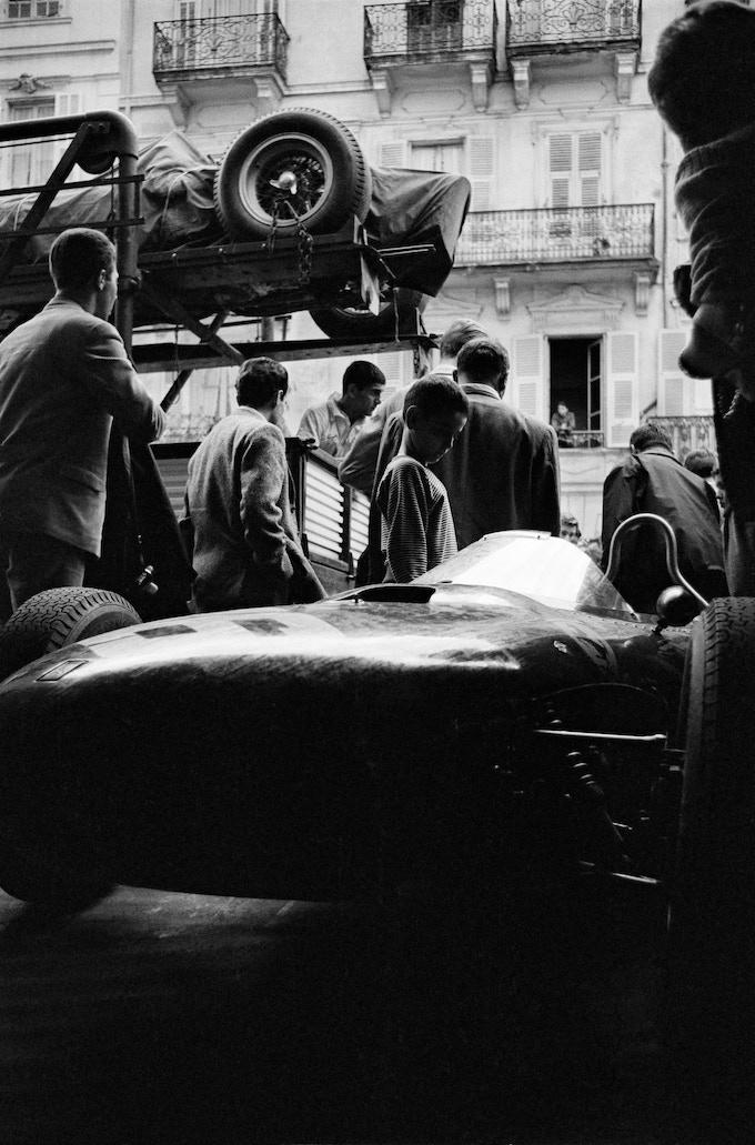 "Unloading Ferraris before practice, Monaco, 1962. ***17"" x 22"" Archival Pigment Print ***"