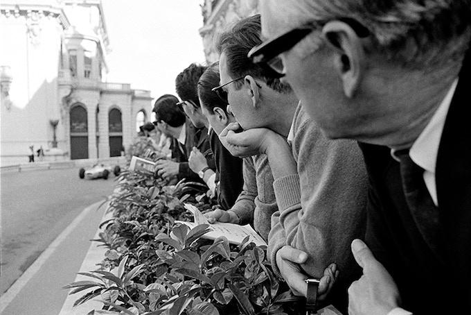Spectators on Hotel De Paris Terrace, Monaco, 1966. ***(Back) Notecard image***