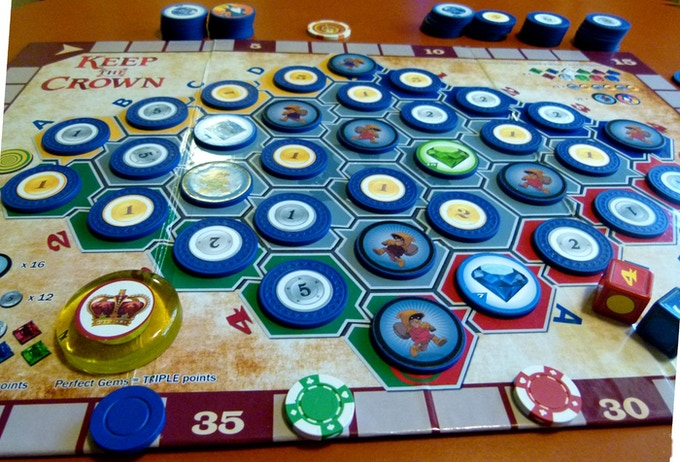 ** The player with the blue token wins via the Score Track! (prototype board and components.)