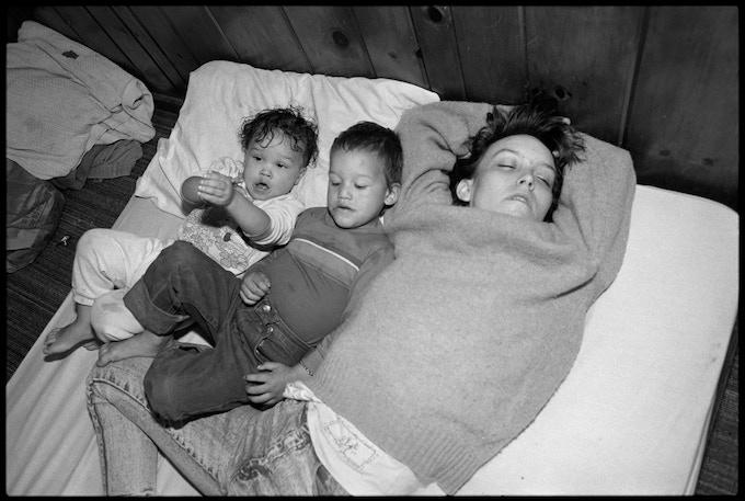 Tiny sleeping with Daylon and La Shawndrea, Seattle, 1989