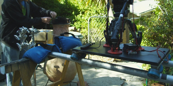 A stepper motor tows a skateboard dolly controlled by a version of the DB-1 receiver