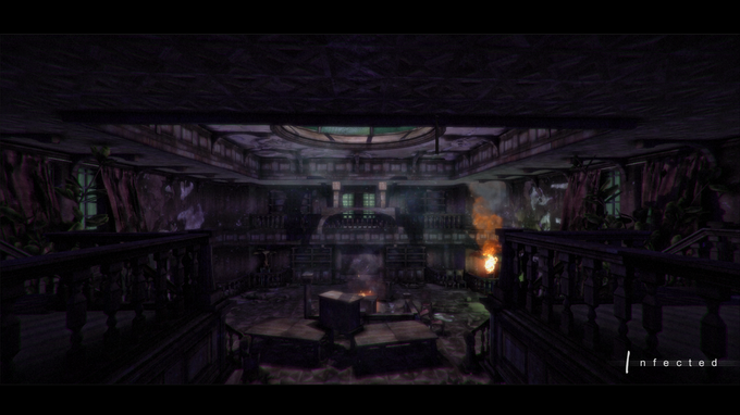A shot of inside the main hall of the mansion, this is essentially the hub for this level and only part of the game where the environment that will not be randomized.