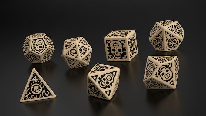 Mock-up of East Mark seven dice set, by Q-Workshop