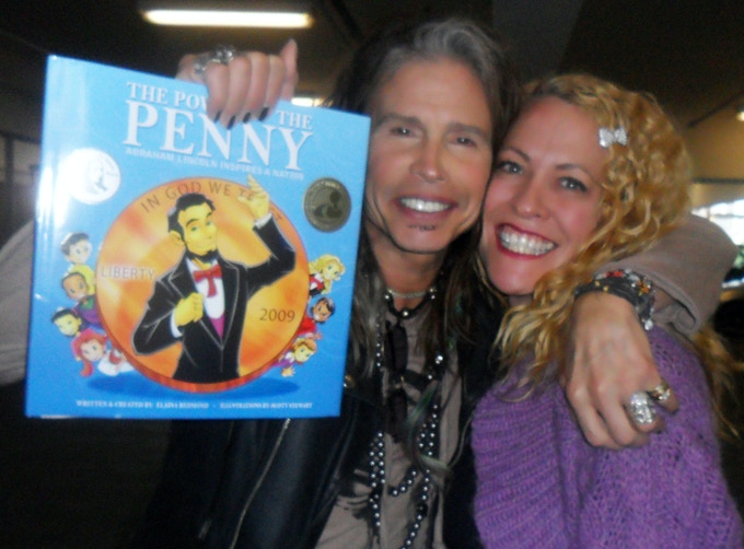 Steven Tyler, The Power of the Penny book and Author Elaina Redmond
