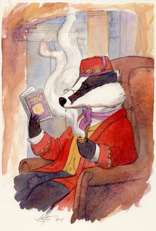 Stately Mr. Badger reading Steam in the Willows, just to make things nice and meta.