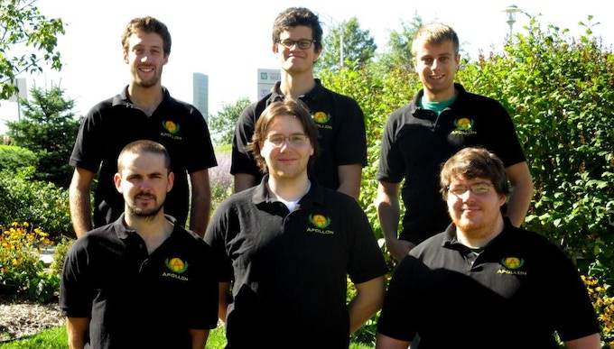 THE APOLLON TEAM FROM SHERBROOKE UNIVERSITY. First row: Laurent Bélisle-Chabot, Kane Thomas, Gilbert Larochelle Martin. Second row: Sébastien Désilets, Frédéric Coulombe, Jean-Francois Langford.