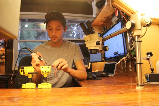 Kyle assembling the circuit board.