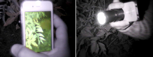 The Snooperscope infrared light is not visible to the human eye