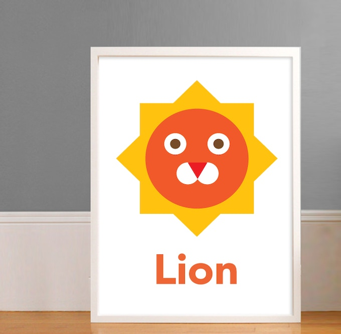 "16"" x 20"" Lion Print (Framed)"
