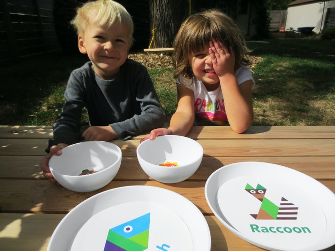 Olivia & her best friend Hugo play with product prototypes