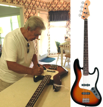 Bass master Joe Osborn signing our Kickstarter reward
