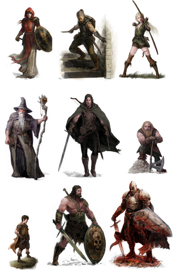 Red box's classes. Cleric, thief, elf, mage, explorer, dwarf, halfling, warrior and paladin