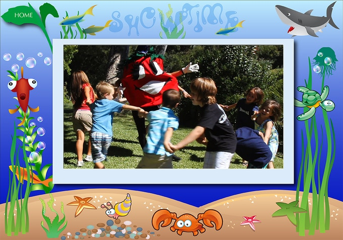 Dancing with Tommy Tomato. All our children's episodes will be shown in storybook-like settings. There will be no advertising in the children's sections.