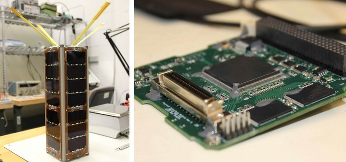 Radio Aurora Explorer (RAX) – 2 developed by MXL at the University of Michigan in Ann Arbor, now flying in space (left), and flight proven data interface module for down-linking data (right)