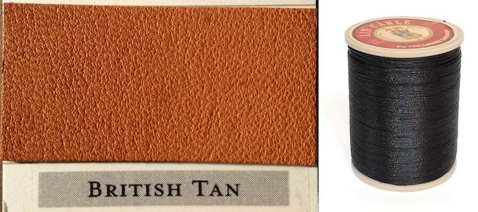 British Tan Leather & Black Thread