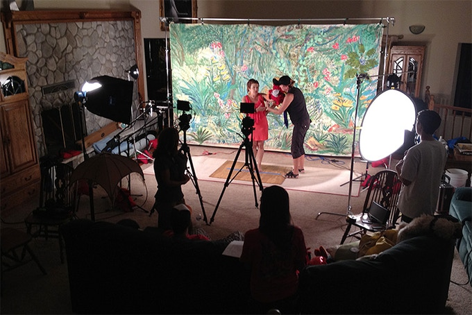 On the set with Lady Arlene shooting 'Digo the Parrot' screen test.
