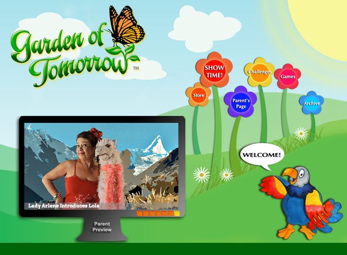 Garden of Tomorrow Home Page. (Note the Parent's Preview window provides a quick overview of the current episode)