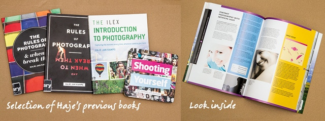 A selection of Haje's previous books for Ilex, and an open spread from The Ilex Introduction to Photography.