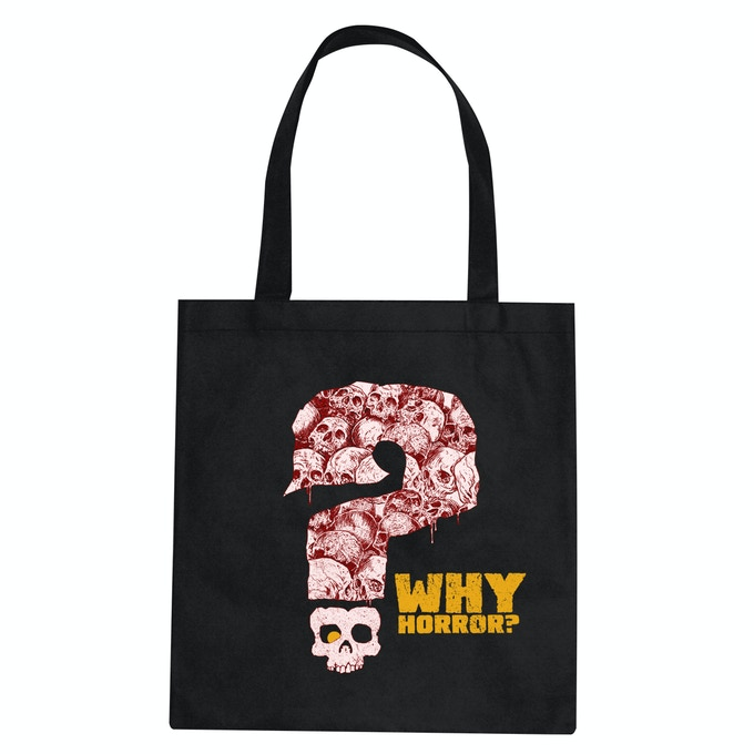 The WHY HORROR? tote bag, available at the $40 reward level and up.