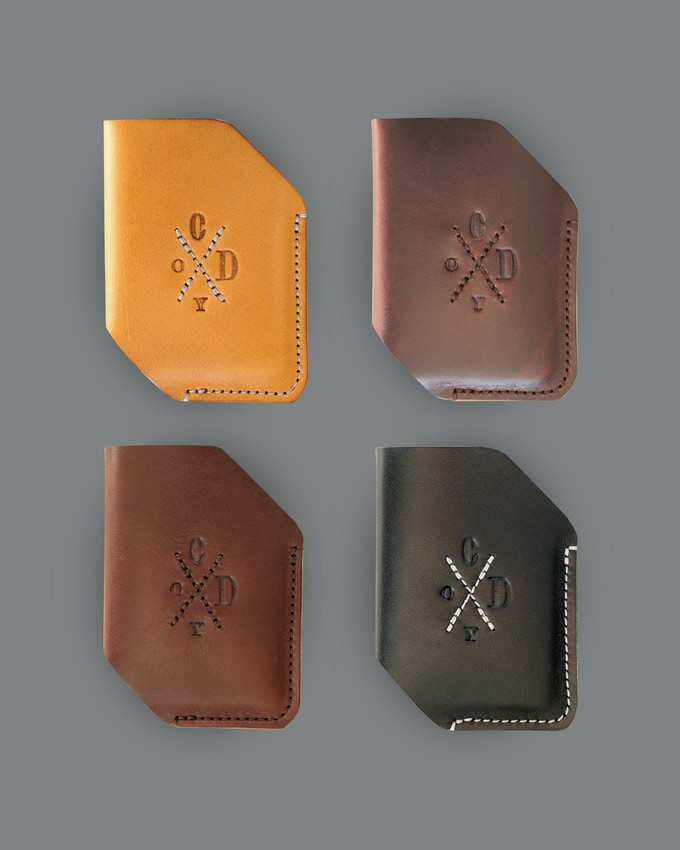 Ozzy. Minimalist wallet. Almond, Oxblood, Brown, Black (from top left clockwise)