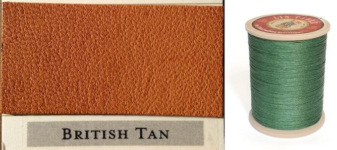 British Tan Leather & British Racing Green Thread