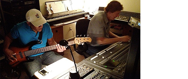 Bob Summers on right with James East providing bass guitar and vocals during one of Lady Arlene's recording sessions. James played guitar for Lionel Richie.