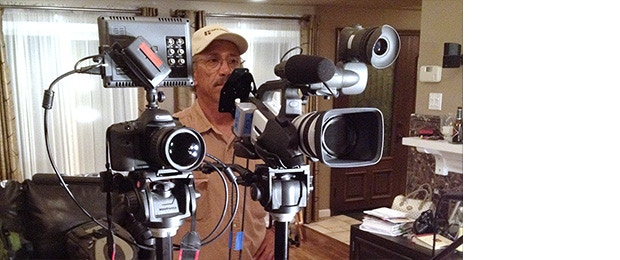 Robert Alvarez stands behind his array of cameras on a test shoot for Garden of Tomorrow.