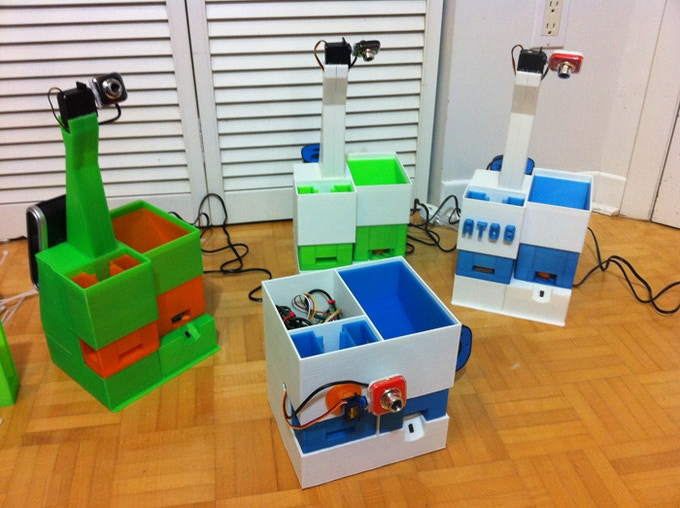 Fully 3D printed PetBot prototypes (June 2013).