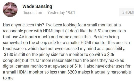 A recent Google+ post about small HDMI screens