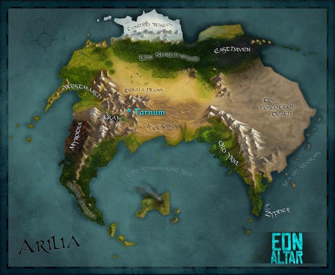 The Continent of Arilia. Art by Cecilia Daude.
