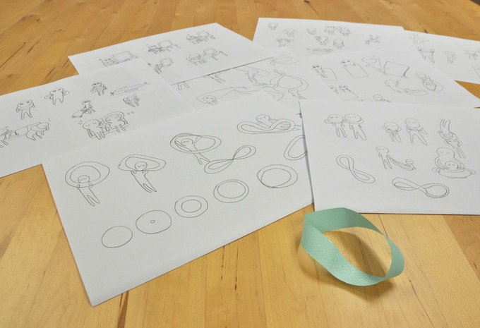 Some initial sketches of the infinity concept for Infinity Pillow and Forever Blanket.