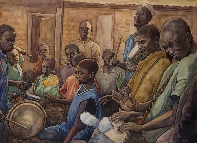 Les Batteurs I, 18x24 watercolor by Dave Kobrenski