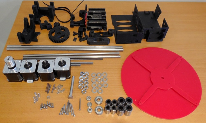 Those are the all parts of our prototype. It contains one third of the parts compared to RepRap.