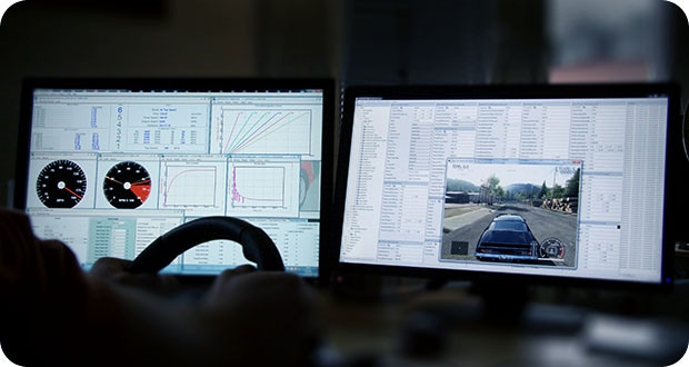 Serious car tuning in progress – both hands on the wheel!