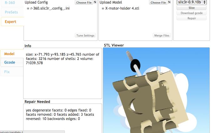 Slicing a model on Slicer Cloud