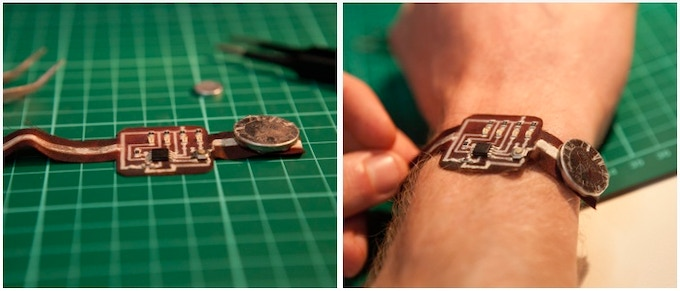 Binary Watch running Arduino printed on fabric (97% polyester, 3% spandex)