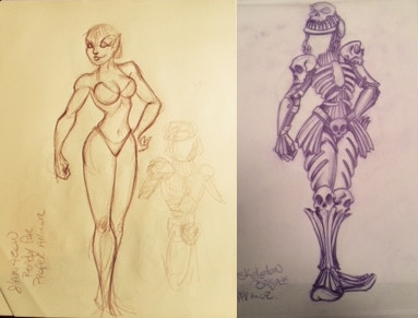 Sketches of the paper doll and Skeletal Horde armor set